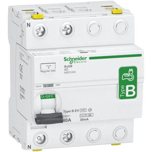 B típusú fi relé, Schneider electric, elektromos autó áramvédő kapcsoló , 2 pólus ,40 A, 30mA