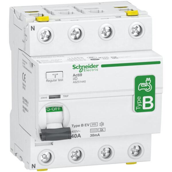 B típusú fi relé, Schneider electric, elektromos autó áramvédő kapcsoló , 4 pólus ,40 A, 30mA